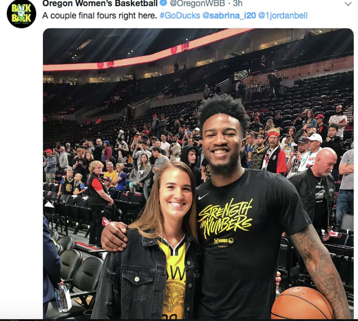Oregon basketball star Sabrina Ionescu was one of several notable attendees of Game 3 of the Western Conference Finals.