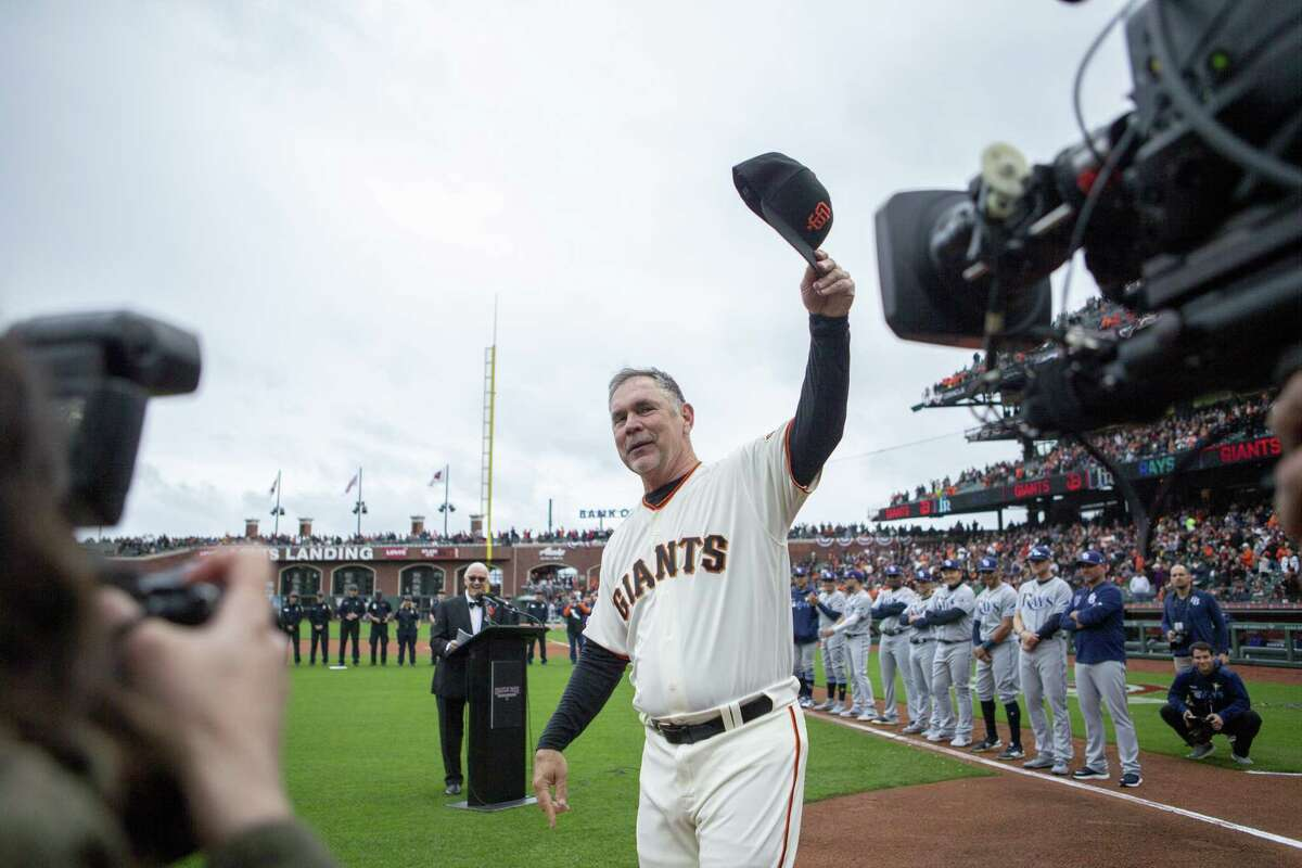 San Francisco Giants manager Bruce Bochy is introduced and honored during the Giants s home opener at Oracel Park against the Tampa Bay Rays on Friday, April 5, 2019.