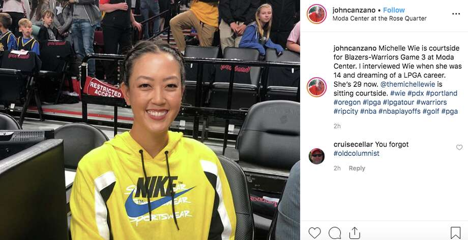 Golfer Michelle Wie attended Game 3 of the Western Conference Finals. Photo: @johncanzano/Instagram