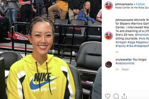 Golfer Michelle Wie attended Game 3 of the Western Conference Finals.