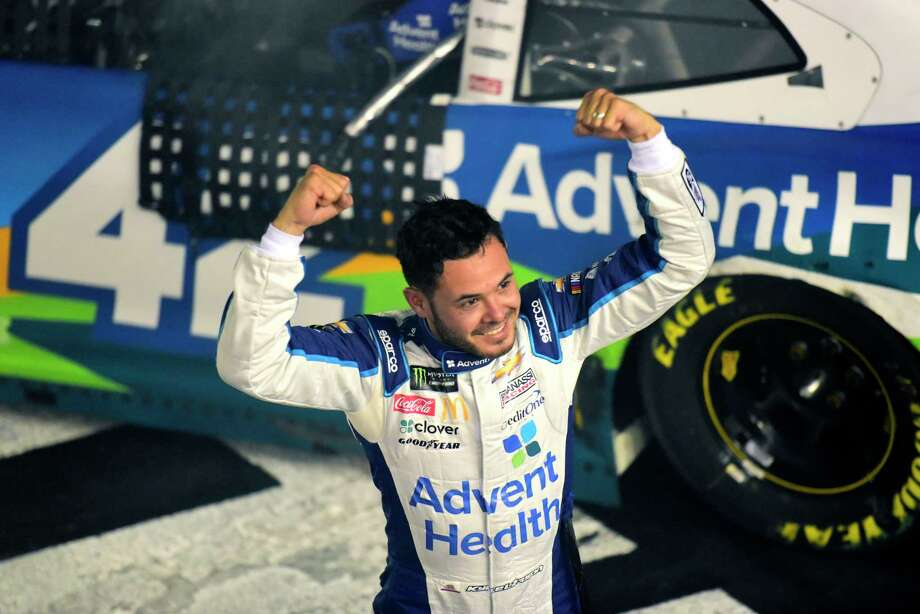 CHARLOTTE, NORTH CAROLINA - MAY 18: Kyle Larson, driver of the #42 Advent Health Chevrolet, celebrates winning the Monster Energy NASCAR Cup Series All-Star Race at Charlotte Motor Speedway on May 18, 2019 in Charlotte, North Carolina. (Photo by Jared C. Tilton/Getty Images) Photo: Jared C. Tilton / 2019 Getty Images