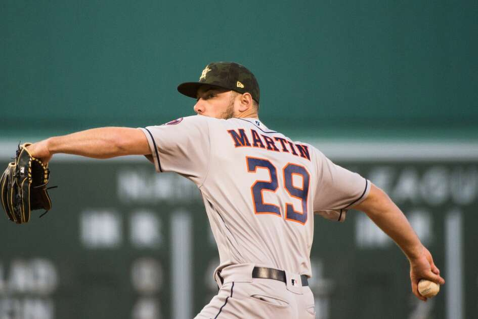 BOSTON, MA - MAY 18: Corbin Martin #29 of the Houston Astros pitches in the first inning against the Boston Red Sox at Fenway Park on May 18, 2019 in Boston, Massachusetts. (Photo by Kathryn Riley/Getty Images)