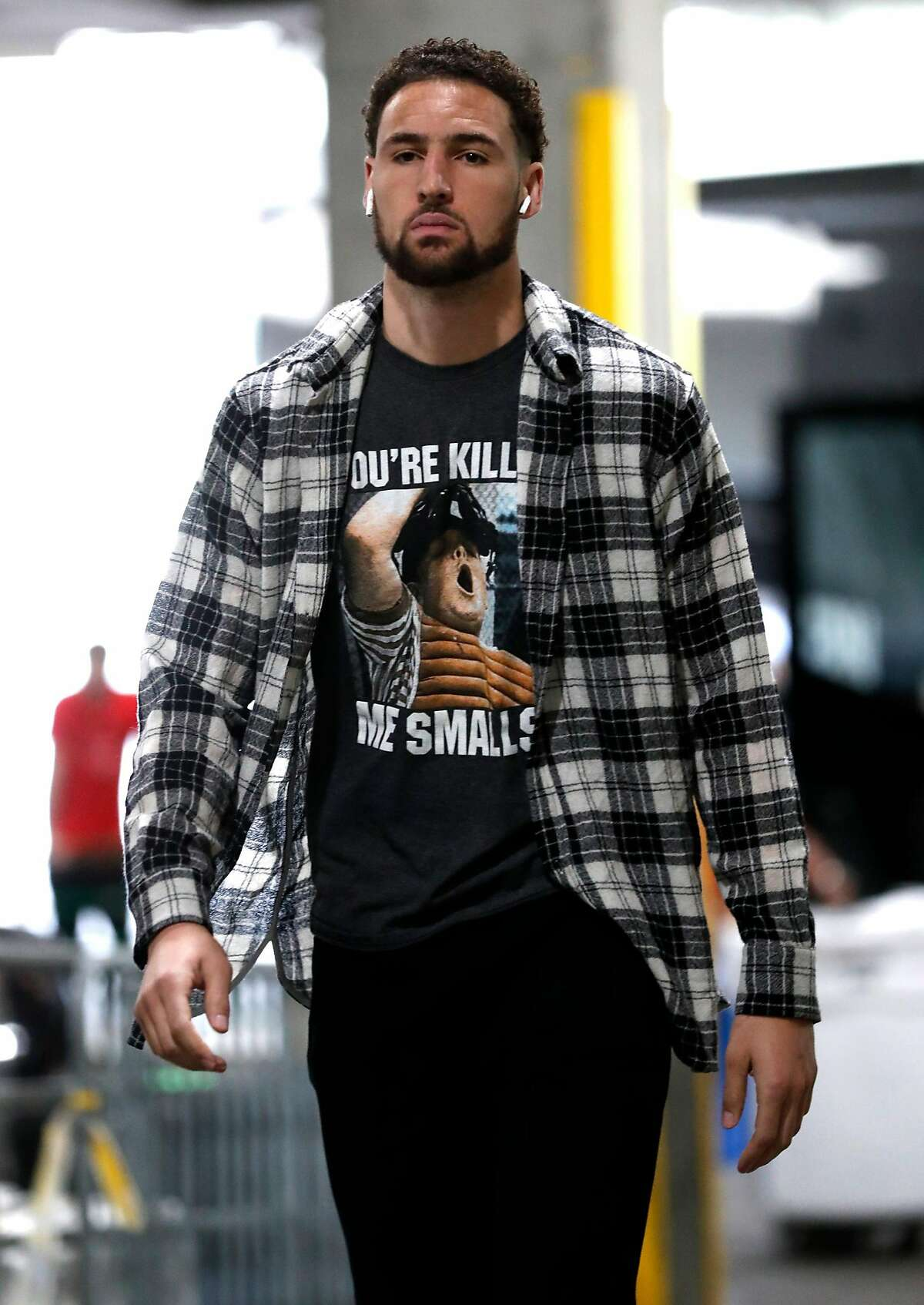 Golden State Warriors' Klay Thompson arrives before Game 3 of the NBA Western Conference Finals at Moda Center in Portland, Oregon on Saturday, May 18, 2019.