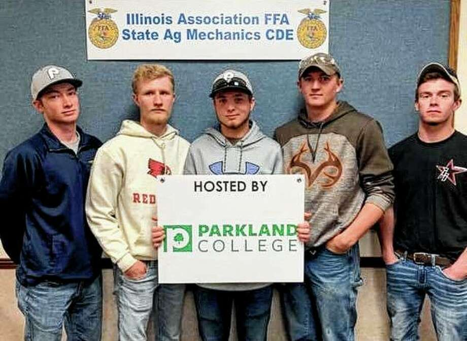 Franklin FFA members recently competed at the State Agriculture Mechanics CDE at Parkland College. The team — Luke Bergschneider (from left), Ethan Hansell, Jared Miller, Joshua Wilson and Marcus Richards — placed 10th out of 54 teams. In individual honors, Bergschneider placed 10th in carpentry out of 26 participants. Hansell placed 16th in electricity out of 29 participants. Wilson placed eighth in welding out of 33 participants, with only 6 points separating Joshua from first place. Richards placed 14th in ag power out of 35 participants, and Miller placed 14th in surveying out of 29 participants. Photo: Photo Provided