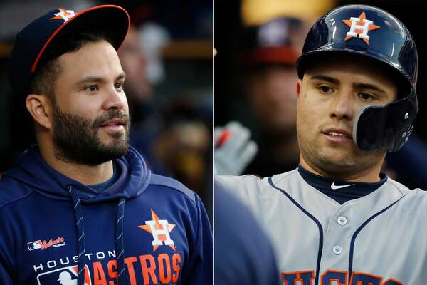 Split photo of Astros' Jose Altuve and Aledmys Diaz.