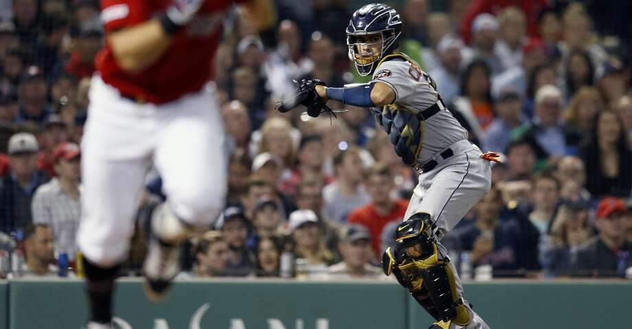 PHOTOS: Astros game-by-game Boston Red Sox's Michael Chavis, left, runs on his third strike as Houston Astros' Robinson Chirinos throws to first base during the sixth inning of a baseball game in Boston, Friday, May 17, 2019. (AP Photo/Michael Dwyer) Browse through the photos to see how the Astros have fared in each game this season. Photo: Michael Dwyer/Associated Press