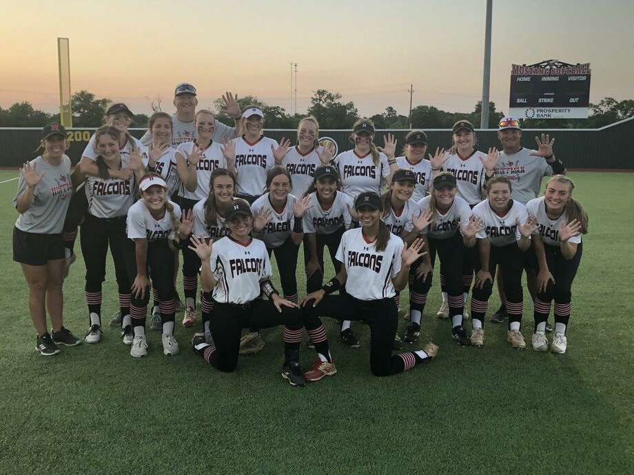 The Hargrave Lady Falcon softball team poses celebratorily after sweeping Lorena in the regional semifinals. Photo: Hargrave Softball Twitter