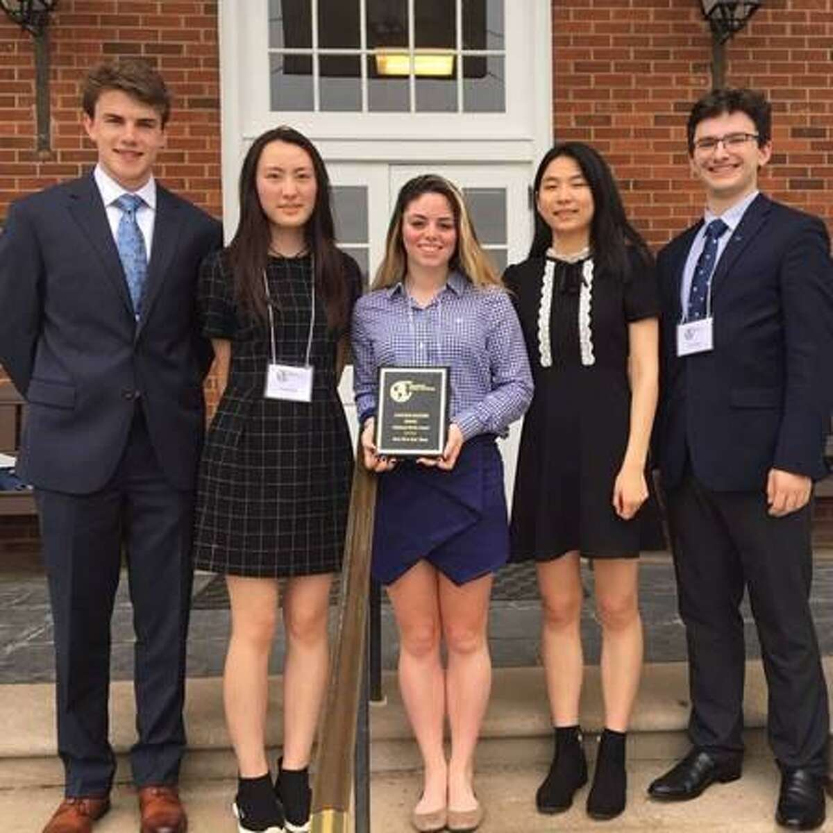 Immaculate High School engineering students won awards at the 2019 National Real World Design Challenge. From left to right: Keelan Doherty, Ruining Nancy Yang, Mackenzy Garden, Yuxuan Brittany Hu and James Vigar.
