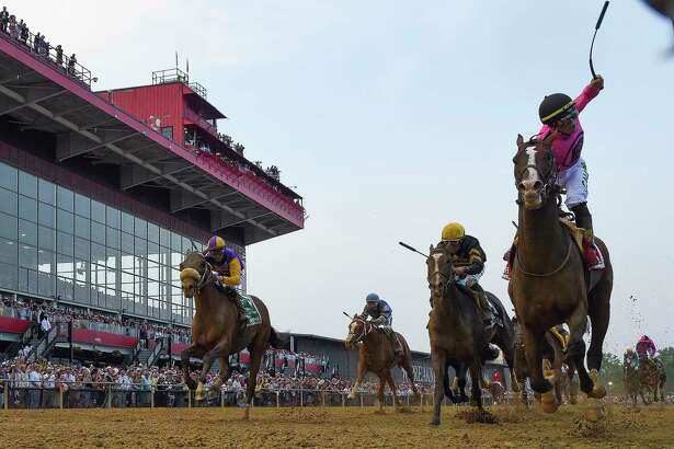 Tyler Gaffalione rides War of Will to victory in the Preakness.