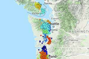 """From the PNSN blog: """"I show the wech-o-mter tremor locations for Apr 12 - May 15 color coded by time (blue - oldest, red - latest). It is far from obvious that there has been a normal, mostly unilateral progression of tremor up or down the region.  Rather tremor has jumped around with significant batches concentrated in an area for a while and then either moving a bit or dying out."""""""