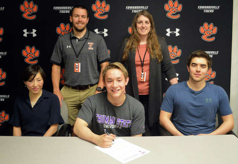 Edwardsville senior Noah May, seated middle, will swim for Truman State University. Photo: Scott Marion/The Intelligencer