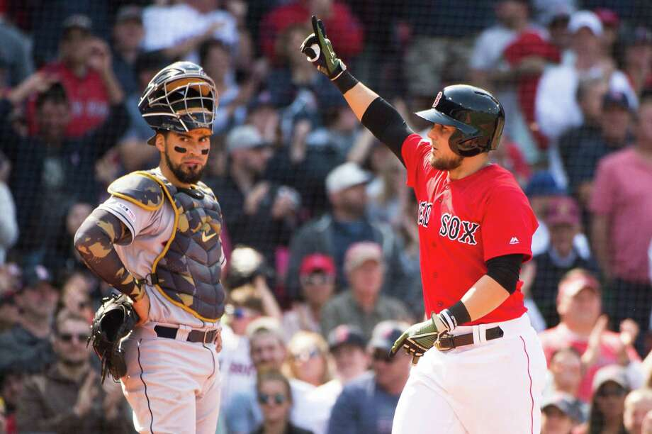 Michael Chavis (23) of the Boston Red Sox celebrates after hitting a solo home run in the fifth inning against the Houston Astros at Fenway Park on May 19, 2019 in Boston, Massachusetts. Photo: Kathryn Riley, Stringer / Getty Images / 2019 Getty Images