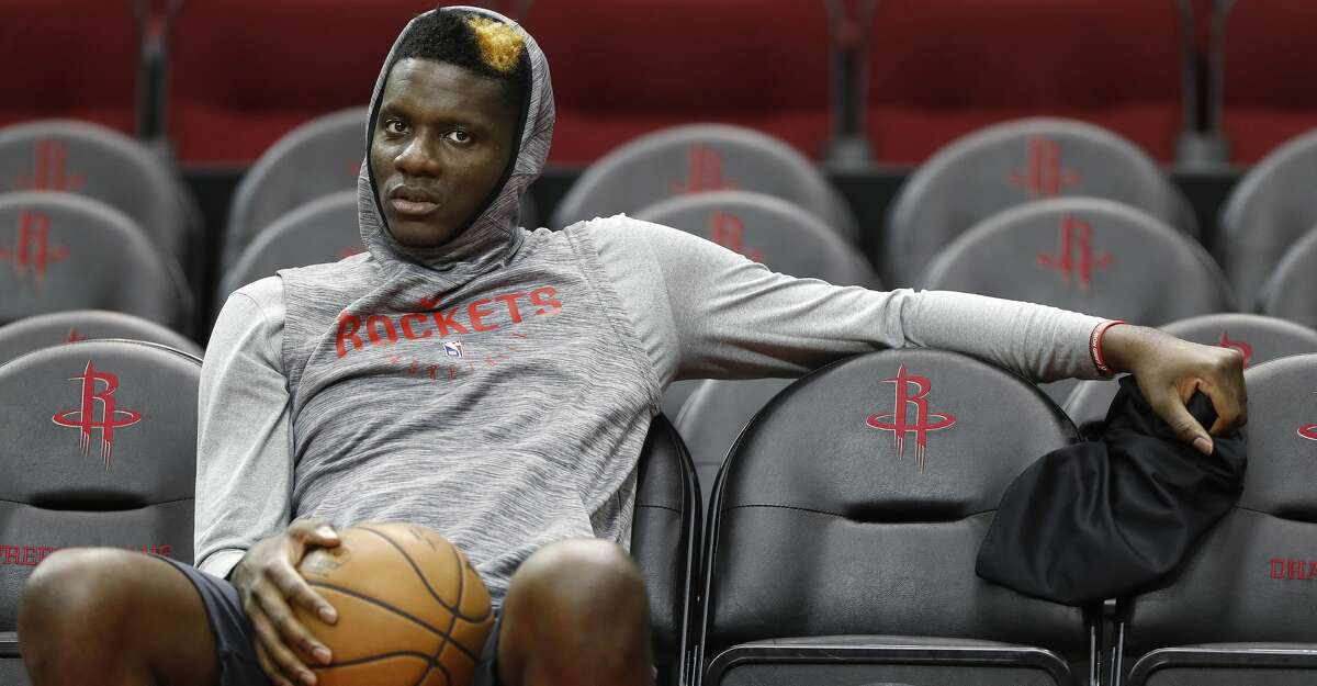 Houston Rockets center Clint Capela waits for practice to begin at Toyota Center,Saturday, April 13, 2019, in Houston, as the Rockets prepare to face the Utah Jazz in a best-of-seven series during the First Round of the 2019 NBA Playoffs.