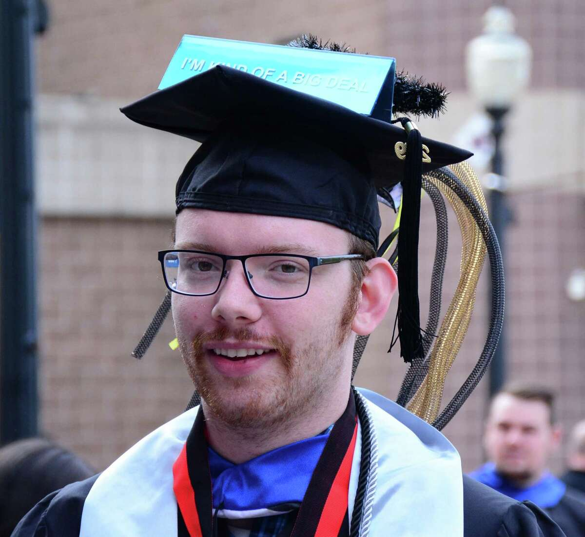James Gillis, 21, from Brookfield waits in line during Western Connecticut State Universities commencement ceremony on Sunday May 19, 2019 at t1he Webster Bank Arena in Bridgeport Connecticut.