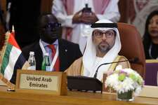 Minister of Energy of the United Arab Emirates, UAE, Suhail Mohamed Al Mazrouei attends a meeting of energy ministers from OPEC and its allies to discuss prices and production cuts, in Jiddah, Saudi Arabia, Sunday, May 19, 2019. The meeting takes places as tensions flare in the Persian Gulf after the U.S. ordered bombers and an aircraft carrier to the region over an unexplained threat they perceive from Iran, which comes a year after the U.S. unilaterally pulled out of Tehran's nuclear deal with world powers and reimposed sanctions on Iranian oil. (AP Photo/Amr Nabil)