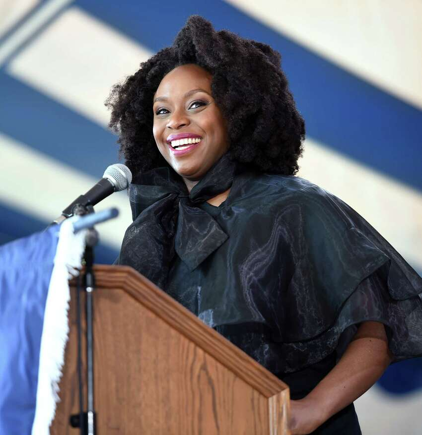 Novelist Chimamanda Adichie delivers the Class Day Address on Old Campus at Yale University in New Haven on May 19, 2019.