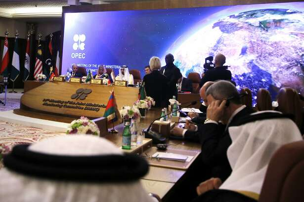 Energy ministers from OPEC and its allies meet to discuss prices and production cuts, in Jiddah, Saudi Arabia, Sunday, May 19, 2019. The meeting takes places as tensions flare in the Persian Gulf after the U.S. ordered bombers and an aircraft carrier to the region over an unexplained threat they perceive from Iran, which comes a year after the U.S. unilaterally pulled out of Tehran's nuclear deal with world powers and reimposed sanctions on Iranian oil. (AP Photo/Amr Nabil)