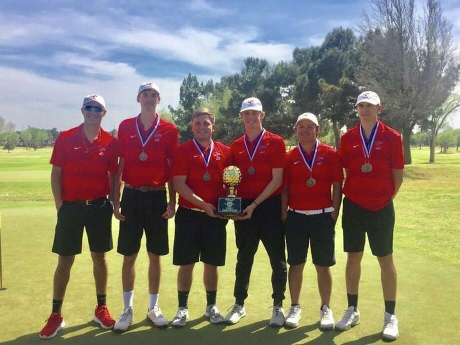 The Garden City boys golf team poses with the District 8-1A championship trophy, April 2 at Ranchland Hills Golf Club. Photo: Courtesy Photo