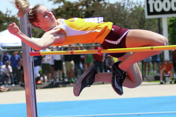 EA-WR's Hannah Sechrest gets over the bar at 5 feet, 3 inches Saturday in the Class 2A state meet in Charleston. She then cleared 5-4 to place eighth.