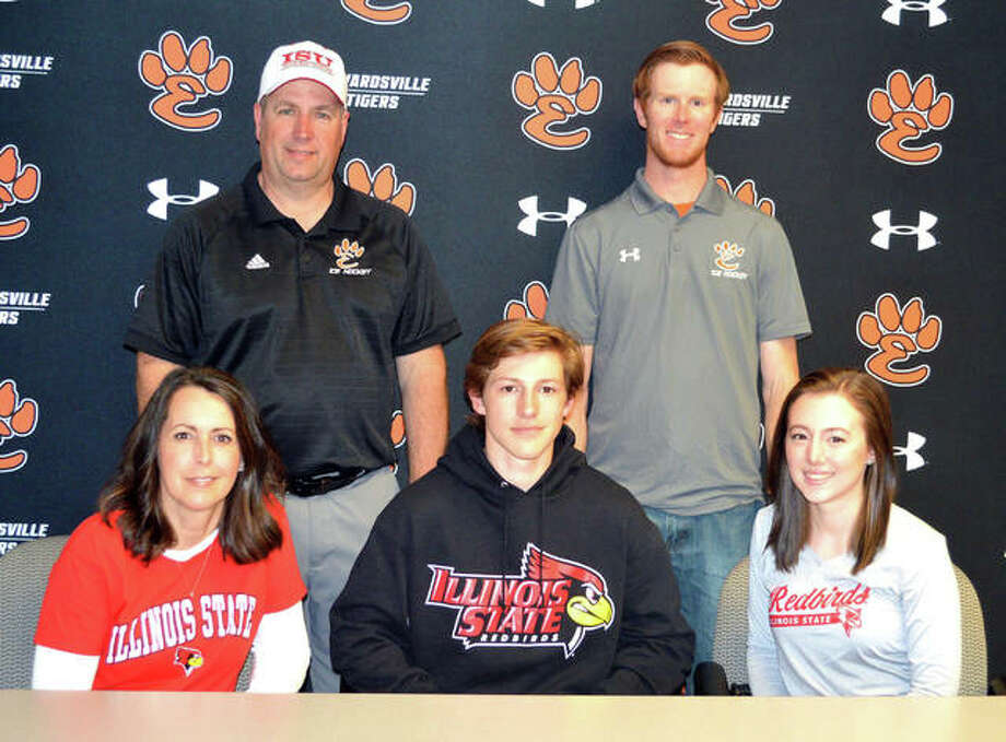 Edwardsville senior Mitchell Oberlag, seated middle, will play hockey at Illinois State University. Photo: Scott Marion/The Intelligencer