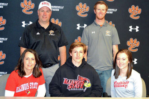 Edwardsville senior Mitchell Oberlag, seated middle, will play hockey at Illinois State University.