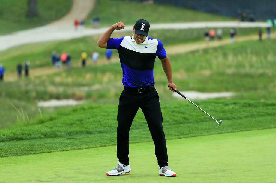 Brooks Koepka reacts after putting on the 18th green during the final round of the 2019 PGA Championship at the Bethpage Black course on May 19, 2019 in Farmingdale, New York. Photo: Mike Ehrmann, Staff / Getty Images / 2019 Getty Images