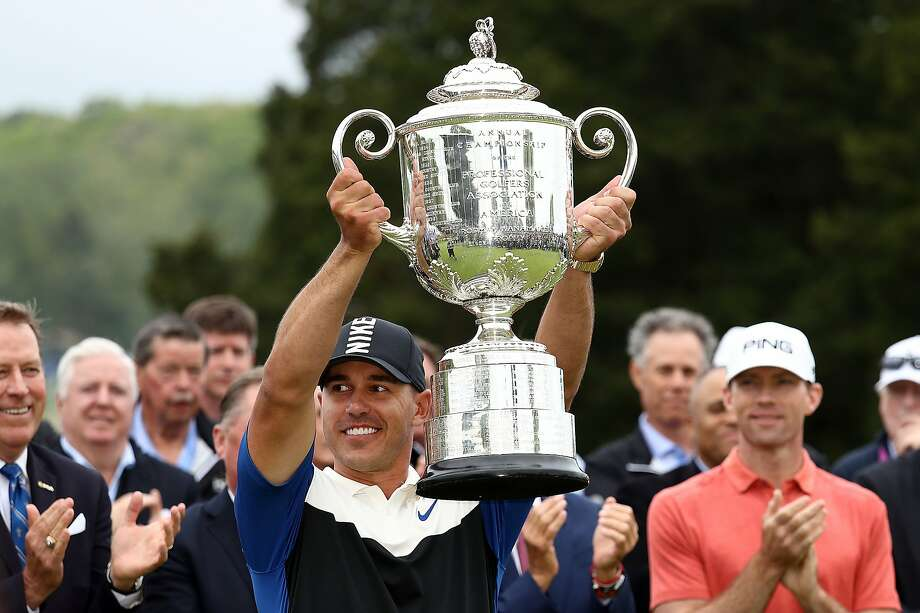 FILE - Brooks Koepka of the United States poses with the Wanamaker Trophy during the Trophy Presentation Ceremony after winning the final round of the 2019 PGA Championship at the Bethpage Black course on May 19, 2019 in Farmingdale, New York. Photo: Jamie Squire, Getty Images