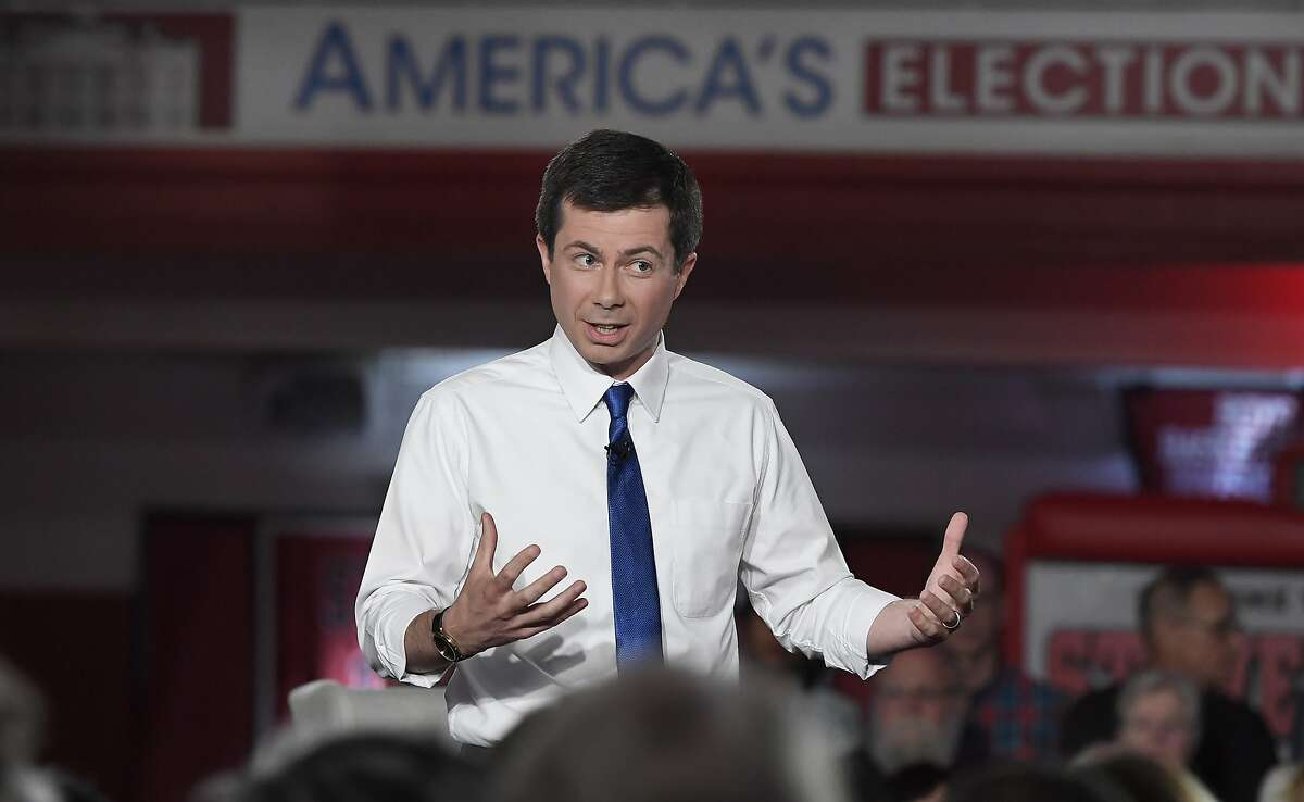 Democratic presidential candidate South Bend, Ind., Mayor Pete Buttigieg speaks speaks during a town hall, Sunday, May 19, 2019, in Claremont, N.H.