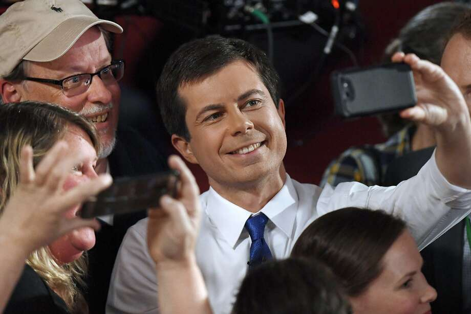 Democratic presidential candidate South Bend, Ind., Mayor Pete Buttigieg takes a selfie with audience members after a FOX News Channel town hall, Sunday, May 19, 2019, in Claremont, N.H. (AP Photo/Jessica Hill) Photo: Jessica Hill, Associated Press