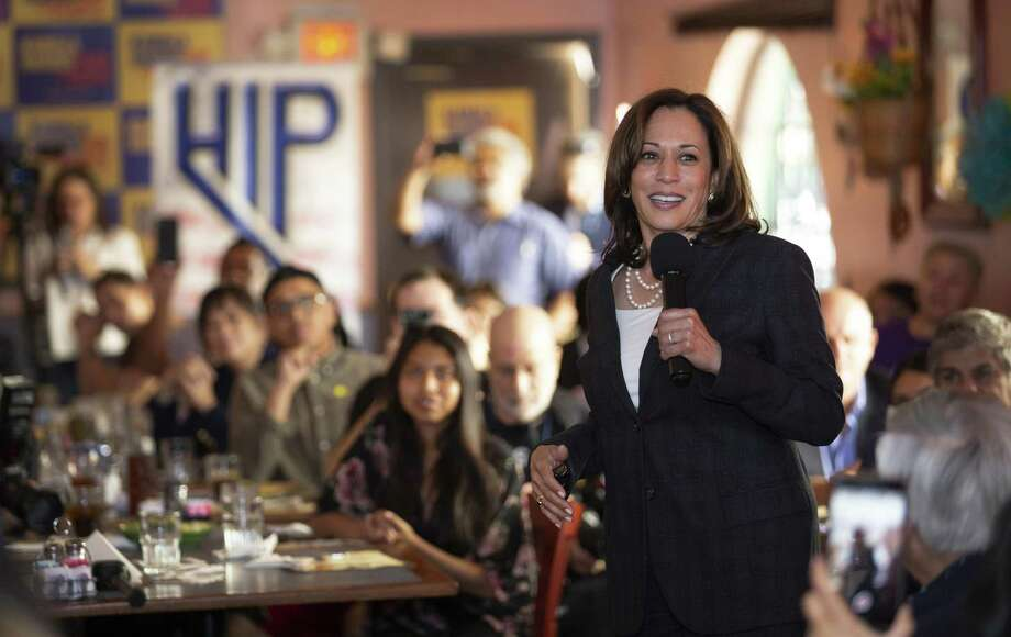 Democratic presidential candidate Sen. Kamala Harris, D-Calif., speaks during a Hispanics in Politics event at the Dona Maria Tamales restaurant in Las Vegas, Thursday, May 16, 2019. (Steve Marcus/Las Vegas Sun via AP) Photo: Steve Marcus, MBO / Associated Press / LAS VEGAS SUN