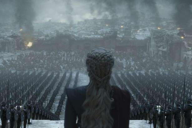 Daenerys Targaryen surveys King's Landing as its new queen.
