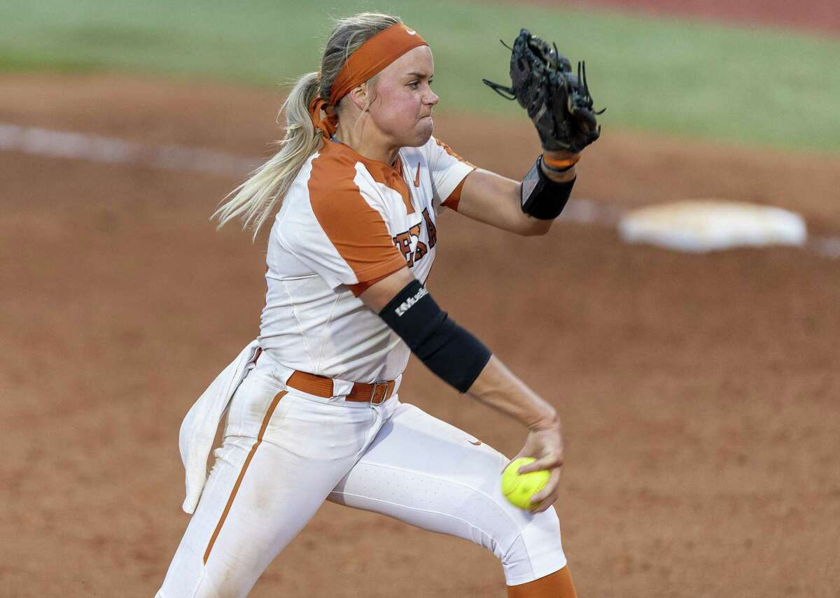 Texas pitcher Miranda Elish (40) throws against Houston during an NCAA college softball tournament Austin Regional game, Sunday, May 19, 2019. Elish threw for a total of 429 pitches in four games and 29 innings. (Stephen Spillman / for Express-News)