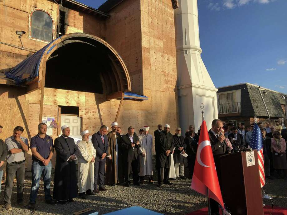 A vigil was held following the recent fire at the Diyanet Mosque of New Haven. Photo: Ben Lambert / Hearst Connecticut Media