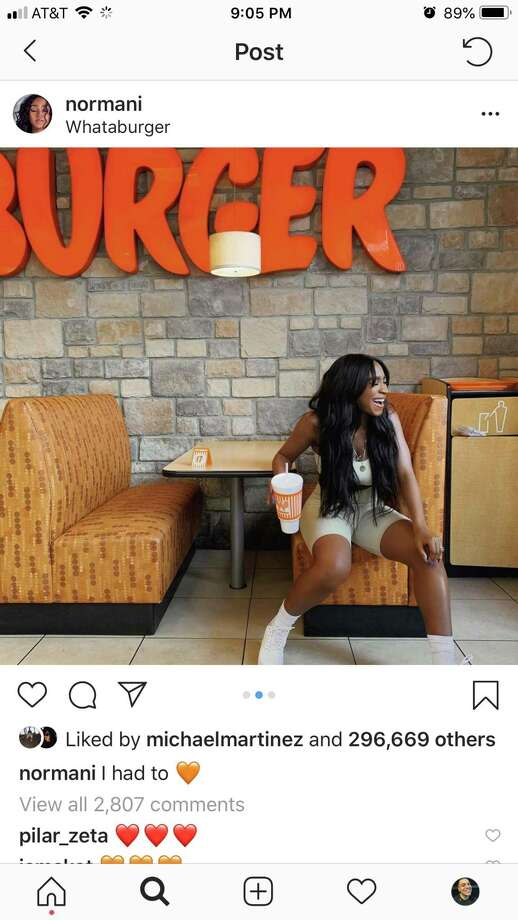 Singer Normani visited Whataburger in San Antonio. Photo: Joey Guerra, Instagram.com/normani / instagram.com/normani