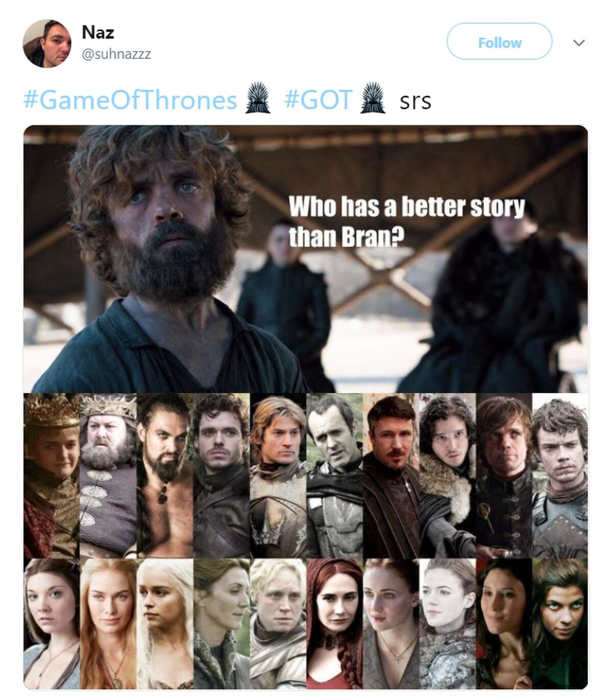 #GameOfThrones #GOT srs Twitter account:@suhnazzz