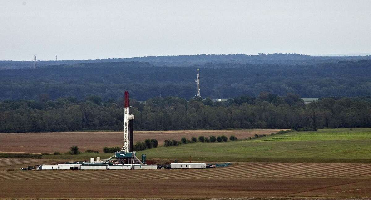 Drilling rigs on the Haynesville shale.