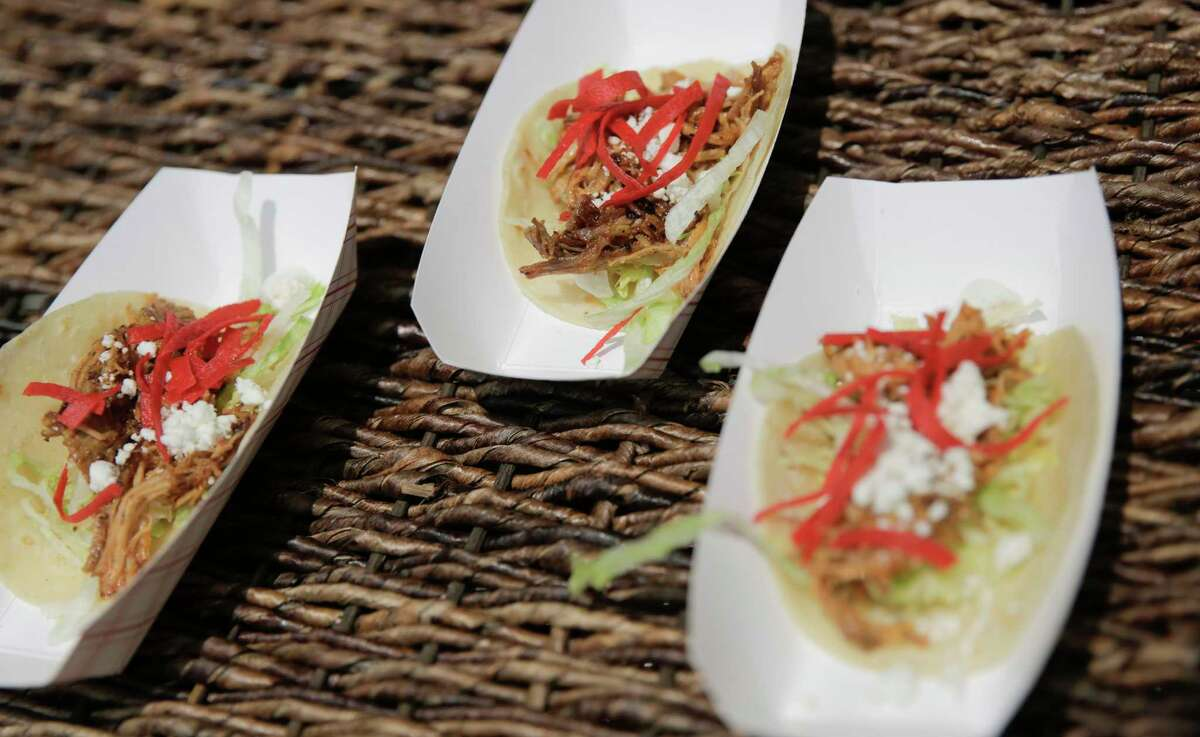 Pulled pork tacos with goat cheese were the offering from Mia's restaurant at the 2nd annual Tacos Over Texas.