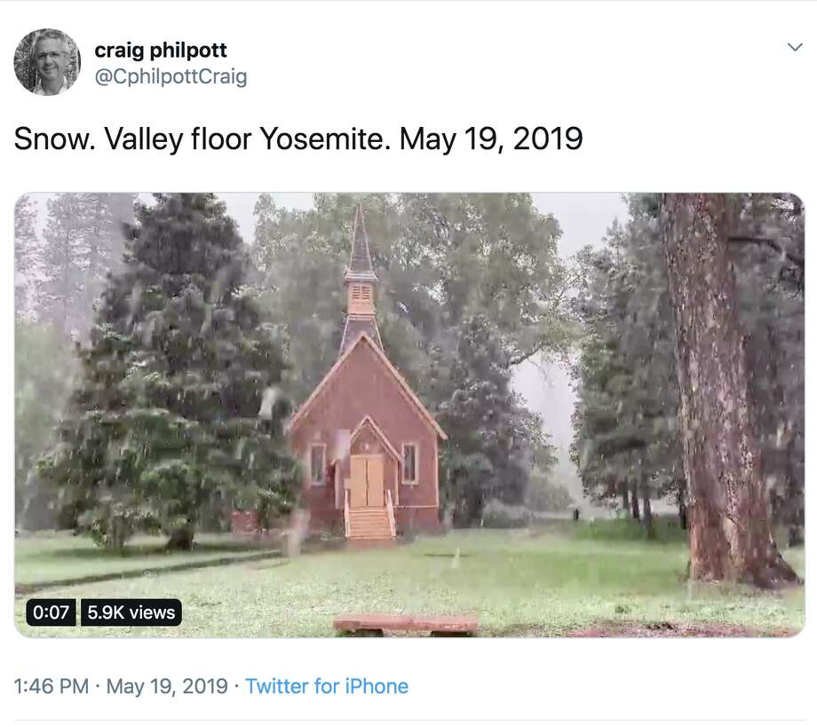 Yosemite looked like a winter wonderland on May 19, 2019, when a late-season snow storm blasted the national park in fresh powder. Photo: Twitter Screen Capture