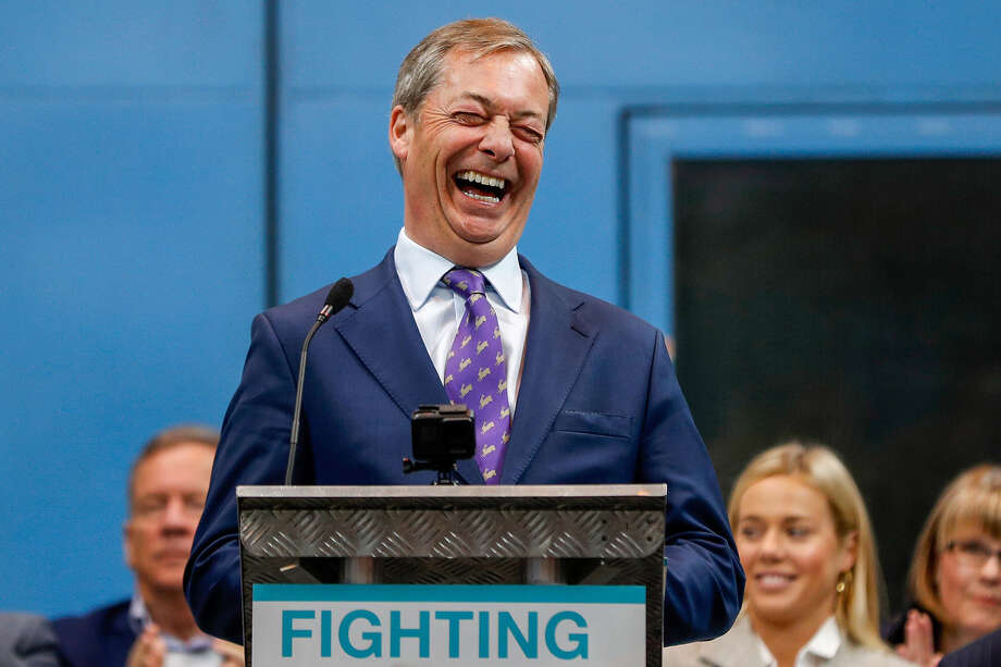 Nigel Farage in Coventry, England, on April 12. 2019. Photo: Bloomberg Photo By Darren Staples. / © 2019 Bloomberg Finance LP