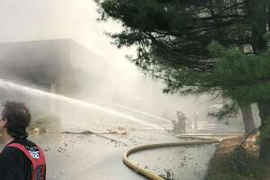 Firefighters battled a large commercial fire at 21 Francis J. Clarke on Sunday.