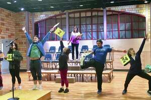 """""""The 25th Annual Putnam County Spelling Bee"""" is onstage at ACT (A Contemporary Theatre) of Connecticut, in Ridgefield, May 30 through June 23. From left are Colin Miyamoto, Sumi Yu, Graham Baker, Morgan Billings Smith, Amy Hutchins, Phil Sloves and Emma Tattenbaum-Fine."""