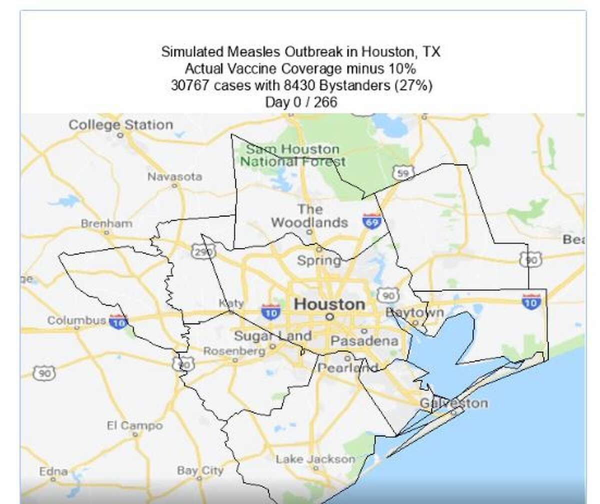 Simulated measles outbreak in HoustonDay 0/266Actual vaccine coverage minus 10%30,767 cases with 8,430 bystanders