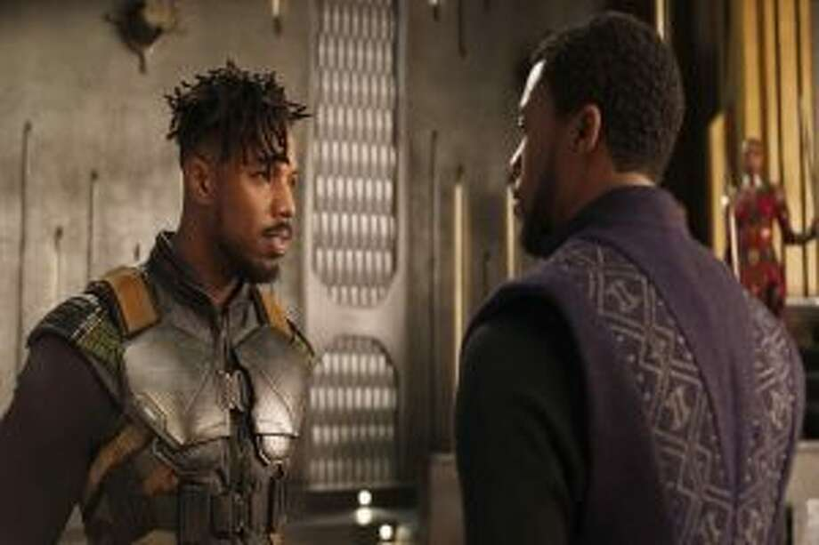 Michael B. Jordan and Chadwick Boseman star in Black Panther.