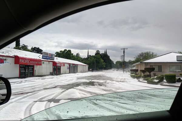 Debbie Hernandez took this photo of a hailstorm that transformed Stockton into a winter wonderland on Sunday.