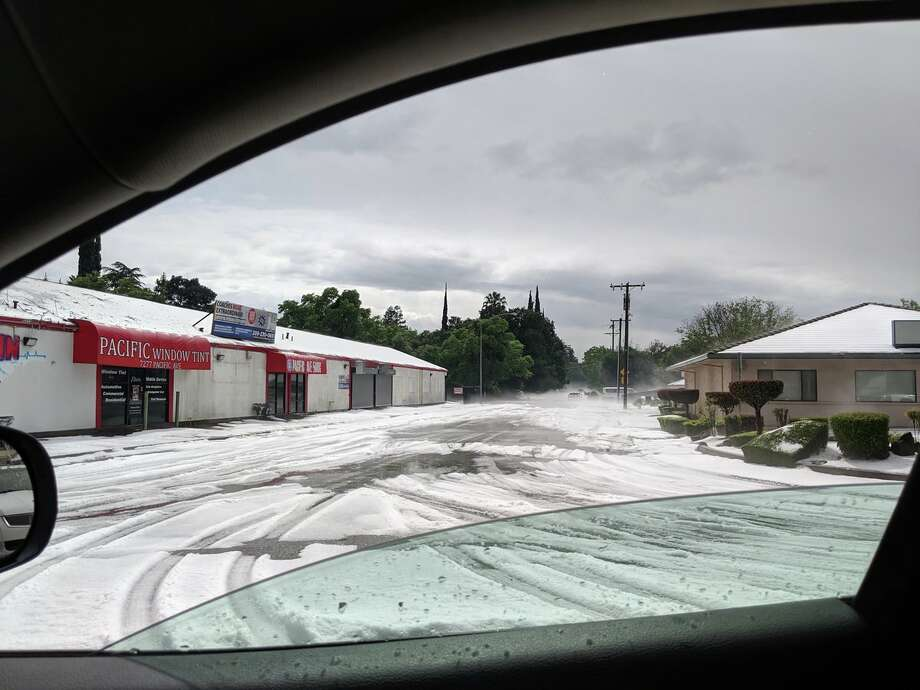 Debbie Hernandez took this photo of a hailstorm that transformed Stockton into a winter wonderland on Sunday. Photo: Twitter / Little_Debs