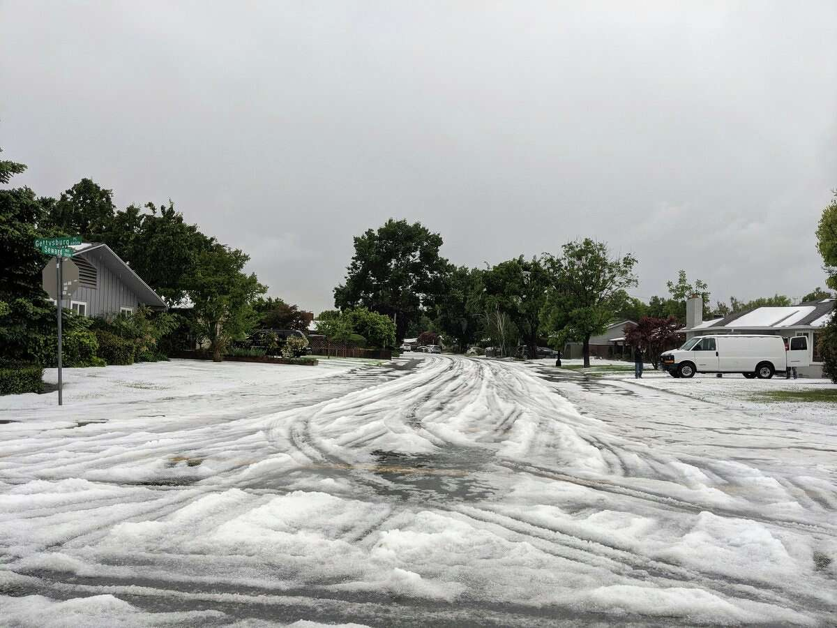 Debbie Hernandez took these photos of a hailstorm that struck Stockton on Sunday.