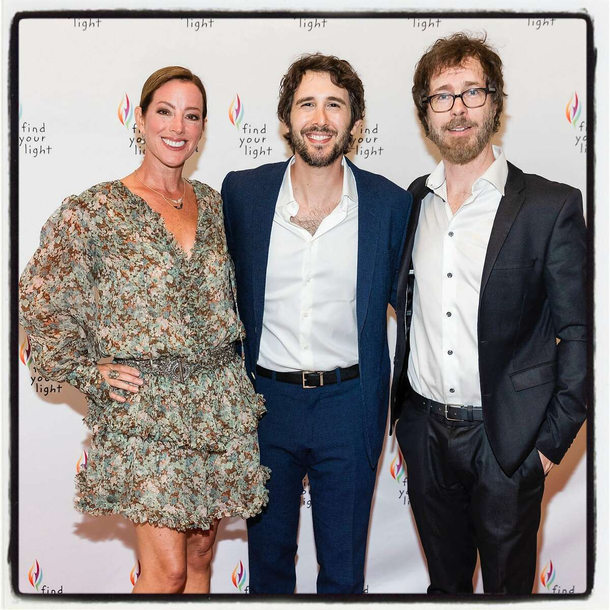 Musical artists Sarah McLachlan with Josh Groban (center) and Ben Folds at the Find Your Light gala. May 4, 2019.