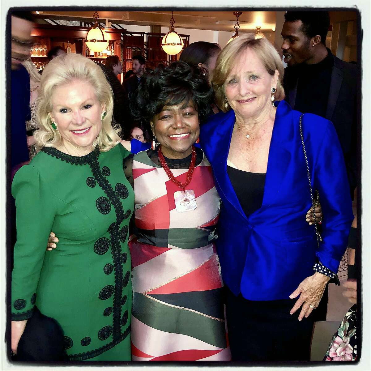 Dede Wilsey (left) with YMCO Director Daisy Newman and Frederica Von Stade at the Museum of Performance and Design fundraiser. May 14, 2019.
