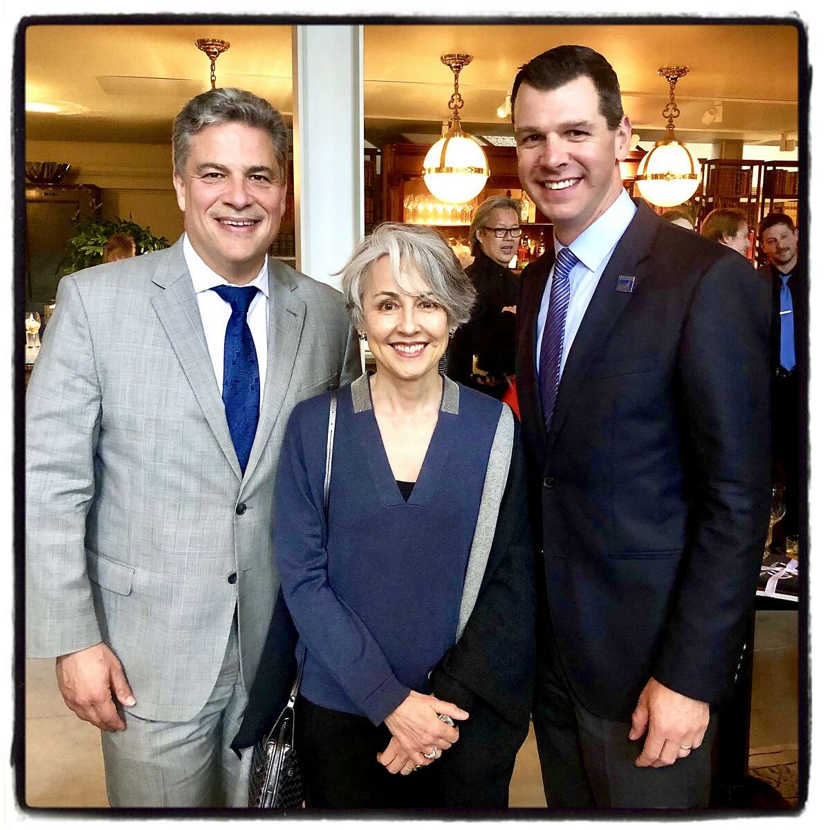 SF Conservatory of Music President David Stull (left) with SF Symphony President Sako Fisher and SF Symphony CEO Mark Hanson. May 14, 2019.