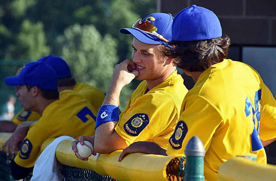 Members of the Post 199 baseball team prepare to take the field during a regular season game last year. Photo: Matt Kamp/The Intelligencer